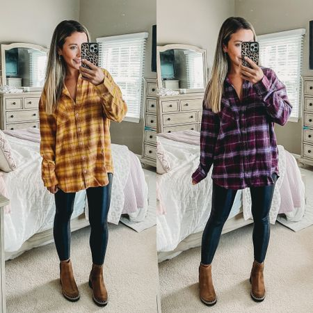 These are the coziest flannels for fall!! Omg I want to live in these 🥰🍂💕 get them before they're sold out!!!  #LTKunder50 #LTKsalealert
