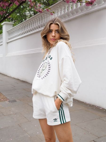The Adidas tennis luxe collection is one of my favourite collections they've done! I love this oversized cream sweatshirt with the tennis logo teamed with these cream Adidas 3 stripe shorts for a sporty look    #LTKeurope #LTKSeasonal