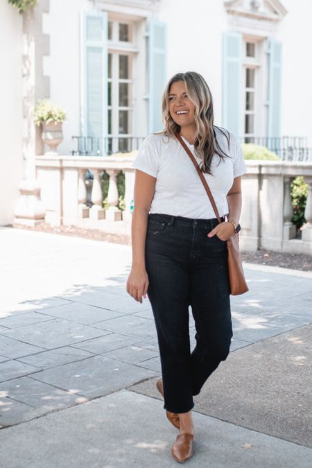 New @walmartfashion finds!! These jeans are one of my favorites. They have the perfect straight leg and high rise. I recommend sticking with your true size! Also linking my white tee, mules, and crossbody bag! #ad @walmart   #LTKunder50 #LTKunder100