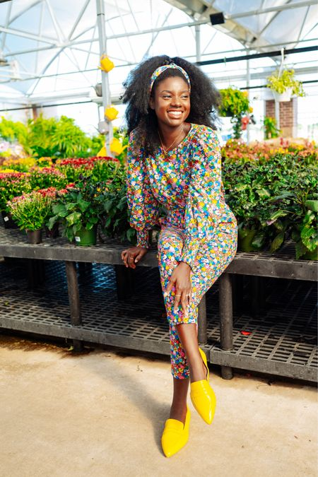 Fun fall outfit! Floral knotted head band, floral print top and floral pants with yellow loafers.   #LTKworkwear #LTKSeasonal