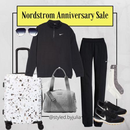 Travel outfit, Nordstrom sale, best luggage, Nike, black sneakers, loungewear  #LTKfit #LTKtravel #LTKsalealert