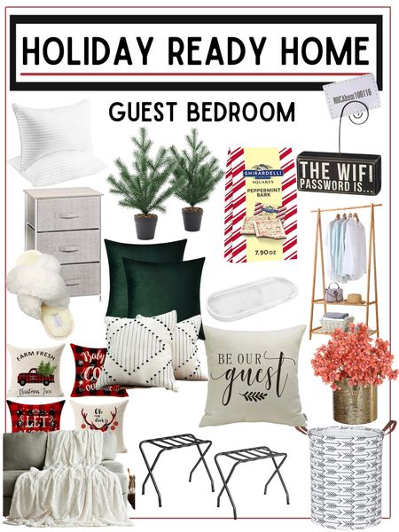 Guest bedroom decor and home furnishings from Amazon.    Give your guest bathroom a refresh or get ready for holiday guests!        Guest bedroom , bedroom decor , home decor , amazon home decor , amazon finds , holiday decor , Christmas decor , pillow covers , throw blanket , luggage rack , laundry bin , faux florals , clothing rack #ltkunder100 #ltkunder50 #ltkstyletip  #LTKHoliday #LTKSeasonal #LTKhome