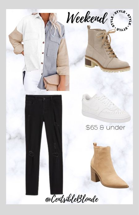 Corduroy colorblock button down with black jeans  Sand boots Tan boots White sneakers White nikes    #LTKstyletip #LTKunder100 #LTKshoecrush