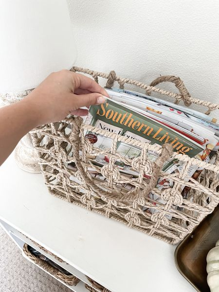The cutest hyacinth magazine basket, perfect for a guest room! Such an affordable home decor piece, but looks much more expensive than the price tag!  #LTKunder50 #LTKhome