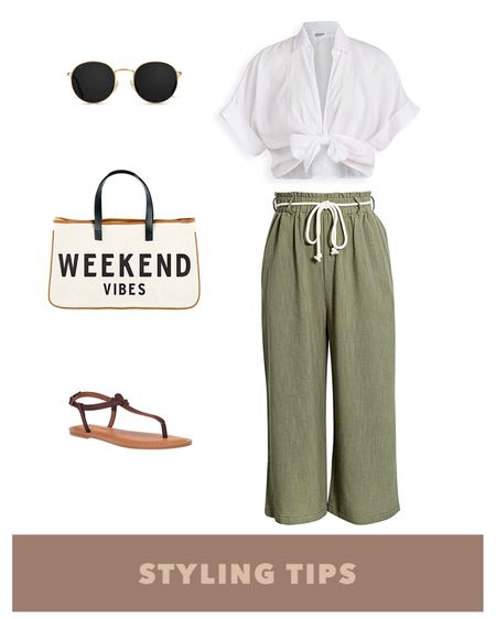 these tie waist pants paired with a front tie top,  beach bag and sandals makes a perfect poolside or vacation outfit. Shop my daily looks and finds by following me on the LIKEtoKNOW.it shopping app  http://liketk.it/3brrc #liketkit @liketoknow.it l #LTKcurves #LTKsalealert #LTKstyletip #LTKtravel #LTKunder50 #LTKshoecrush #LTKitbag #LTKunder100 # #LTKSeasonal   Beach vacation   beachpants   wide leg pants   palazzo pants   swimwear   swim   summer fashion   amazon finds   amazon fashion   vacation outfits   vacation   amazon swimsuits   beach outfit   blouse   beach tops   sunglasses   tie front top   beach bag tote   beach bags  