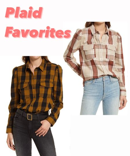 Nordstrom Fall Finds. This plaid puffed shoulder button down is a fall staple!! Love both colors!! 💛💛💛  #LTKunder100 #LTKunder50 #LTKHoliday