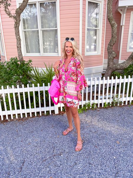 Pink tropical caftan dress size M  Pink studded sandals TTS Stoney clover bubblegum mini tote  Target gold hoops  Budha girl gold bracelet stack Budha girl pink bracelet stack  David Yurman bangle  Kendra Scott gold necklace  Buddy love sunglasses  Vacation outfit, beach outfit, floral dress Follow my shop on the @shop.LTK app to shop this post and get my exclusive app   #LTKstyletip #LTKunder100 #LTKsalealert
