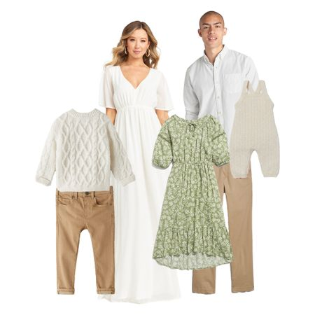 What to Wear | Fall or Spring Family Portraits with creams and green floral  #LTKfamily #LTKkids #LTKFall