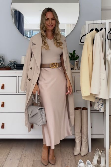 I'm 5'5 and I'm wearing a size Us 0 in my beige trench coat.  My brown sandals and nude pumps are true to size. I'm wearing 36.  My grey bag is the small saint Laurent Loulou   My belt is size 75 cm, it fits me perfectly on the hip, but I had to make a smaller hole for the waist.   #LTKDay #LTKstyletip #LTKSeasonal
