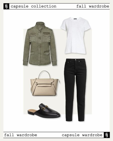 Fall capsule wardrobe! Fall outfit idea. Utility jacket, white tshirt, Levi's jeans, Gucci mules, business casual outfit   #LTKunder50 #LTKunder100 #LTKstyletip