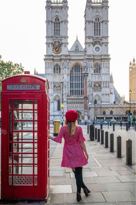 Red polka dot mini wrap dress  Thigh high black boots