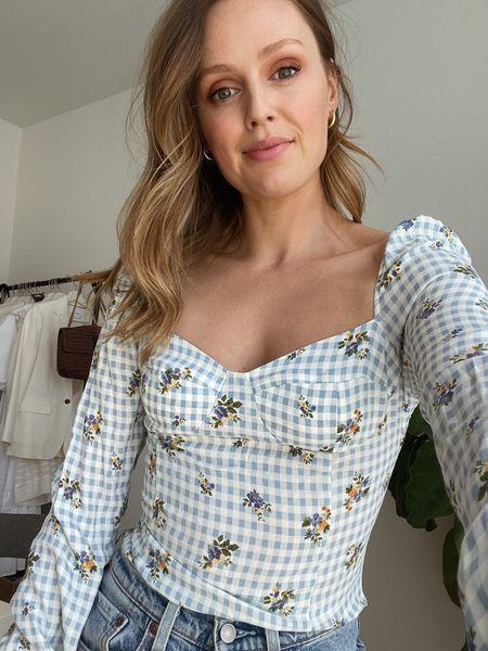 Reformation long sleeve floral gingham top. Fits true to size  #LTKSeasonal #LTKstyletip