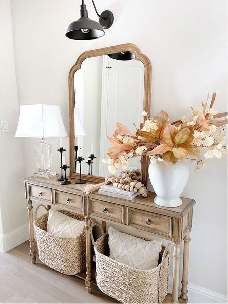 Fall decor, home decor, entryway decor, arch mirror, basket, target finds, lamp   #LTKSeasonal #LTKunder50 #LTKhome