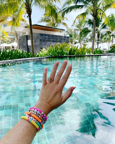 Colorful surfer bracelets  🌴💖   http://liketk.it/3jHl3 #liketkit @liketoknow.it #LTKunder50 #LTKtravel #LTKswim beaded bracelets, beach outfit, pool outfit, fashion jewelry
