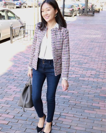 #Ad I'm excited to partner with Ann Taylor today on www.whatjesswore.com. Thanks for reading! 💕 This pink tweed jacket is the perfect addition for chic workwear but it's also a great option for Valentine's Day tomorrow! The jacket, blouse and jeans are currently 40% off with the code SOSWEET. 🛍 Shop this look via the Insta Shop link in my profile or on the @liketoknow.it app at http://liketk.it/2zTH6. #liketkit #LTKsalealert #LTKshoecrush #LTKstyletip #LTKunder100 #LTKunder50 #sponsored #thisisann February 13, 2019
