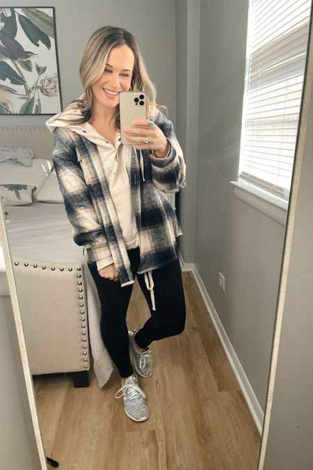 Amazon fashion finds: how to style this amazon shacket #2 paired it with my new oversized hoodie that is half off right now, the comfiest running shoes and my amazon leggings, they are a lululemon dupe http://liketk.it/36AN0 #liketkit @liketoknow.it #LTKfit #LTKshoecrush #LTKstyletip