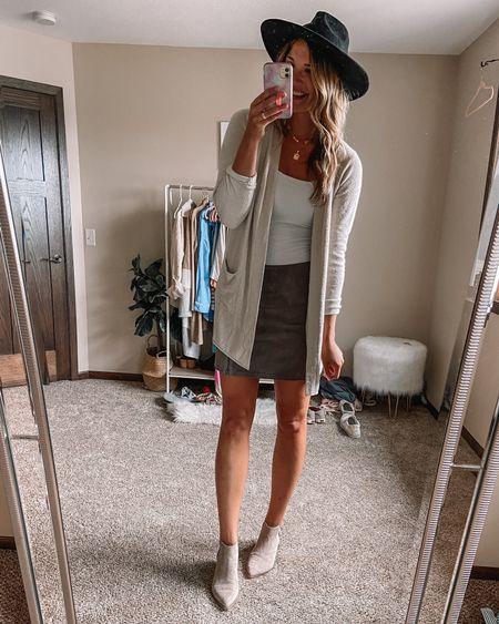 Barefoot dreams cardigan / black felt hat / BlankNYC suede mini skirt / abercrombie bodysuit / beige target booties   #LTKunder100 #LTKstyletip #LTKsalealert
