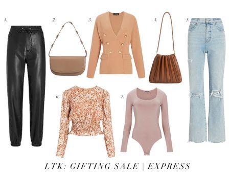Express LTK Gifting Sale. Leather pants. Jeans. Bodysuits. Purses. Blouses. Blazers. Sweaters. Dresses. Skirts.  #LTKunder50 #LTKSale #LTKsalealert