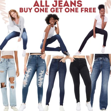 All Jeans! Buy One Get One FREE! High rise, low rise, on trend, wide leg, boot cut!   #LTKsalealert #LTKunder100