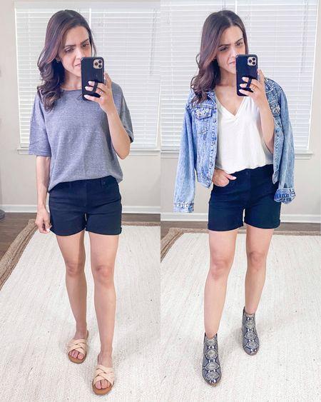 Target slim fit black rolled hem denim shorts (size up) + style outfit idea http://liketk.it/3fMuO #liketkit @liketoknow.it #LTKunder50 #LTKstyletip