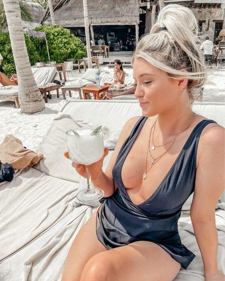 One Piece Bathing Suit | Maternity Bathing Suit | Bump Friendly | Black Swimsuit | Amazon Sarong | @liketoknow.it #liketkit http://liketk.it/3b66a