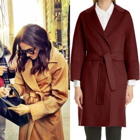 Meghan wearing Max Mara Manuela shop coat on NSALE #wrap #duster #wool #belted   #LTKstyletip