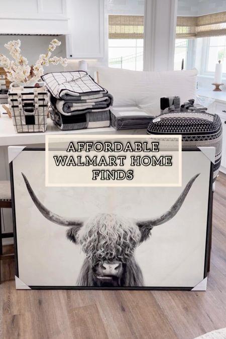 Walmart farmhouse home decor. Bunk room furniture, bedding, sheets, highland cow artwork, organization baskets  #home #decor #affordable #sale #walamrt #laurabeverlin     #LTKsalealert #LTKunder100 #LTKhome