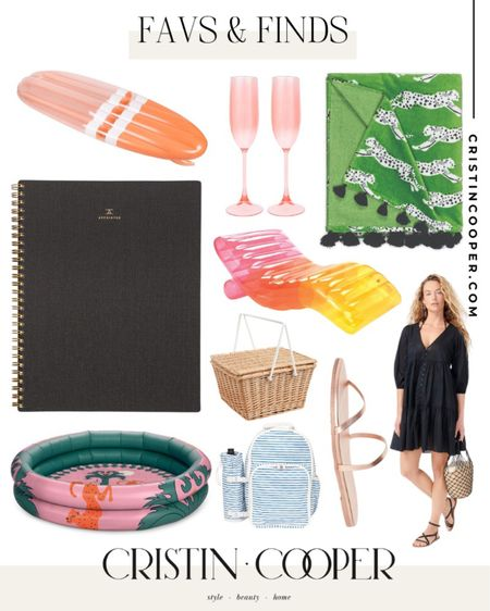 Favs & Finds // surfboard pool float // champagne flutes // beach towel // notebook // sandals // blow up kiddie pool // picnic basket // cooler backpack // blowup chaise lounge // beach dress http://liketk.it/3hgXE #liketkit @liketoknow.it