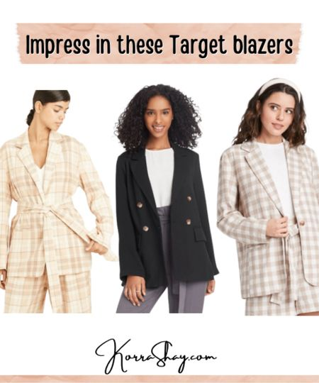Impress in these Target blazers!   Affordable work fashion is so important and these blazers are all affordable and so perfect for work.   ✨✨✨   Blazers, women blazers, plaid blazer, black blazer, work fashion, work outfits, work style, professional fashion, business casual, business outfits, professional style, LTK work  #LTKworkwear #LTKunder100 #LTKSpringSale