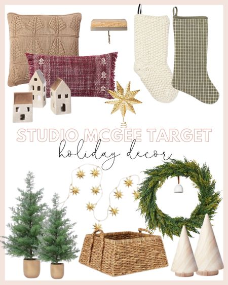 Studio McGee for target holiday decor under $100! Loving all the natural trees, cedar wreath with bells and holiday home accents.  #LTKHoliday #LTKhome #LTKSeasonal
