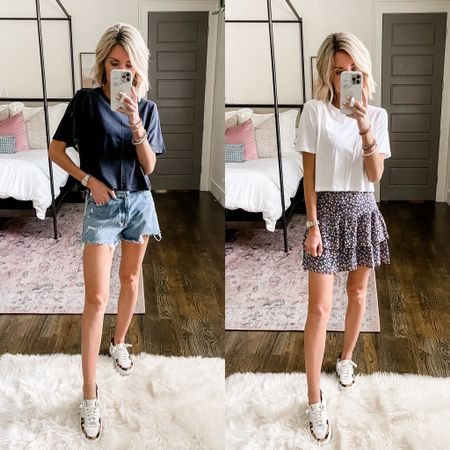 One tee two ways: pair with denim mom shorts or a flirty skirt for a casual summer look!   #LTKstyletip #LTKDay #LTKsalealert
