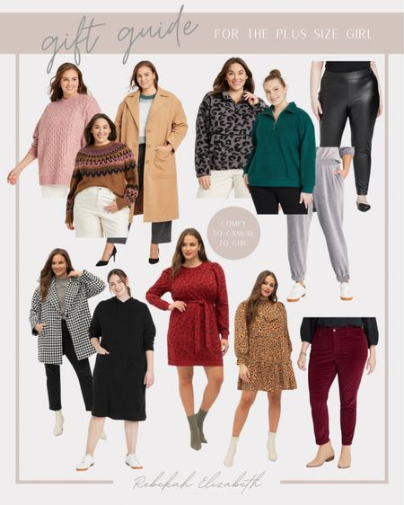 Gift guide for the plus size girl | comfy, casual and chic outfits • sherpa pullovers • faux leather leggings • velour sweatpants • corduroy pants • hooded sweater dress • sweaters • puff sleeve dress • printed dress #rebekahelizstyle  #LTKHoliday #LTKcurves #LTKGiftGuide