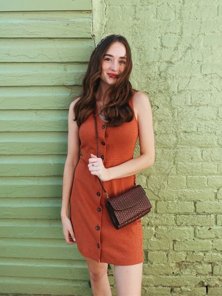"""Madewell dress is an xxs, headband is from Marshall's (linked is one similar), and my purse is thrifted! The lip color is in the shade """"Your Majesty"""" 🍂    #LTKunder50 #LTKSeasonal #LTKstyletip"""