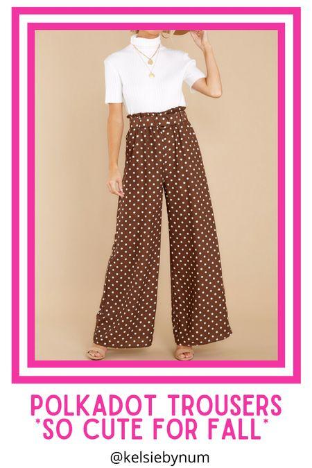 Brown polkadot pants! Transitional fall outfit, Pretty Woman brown polkadot vibes