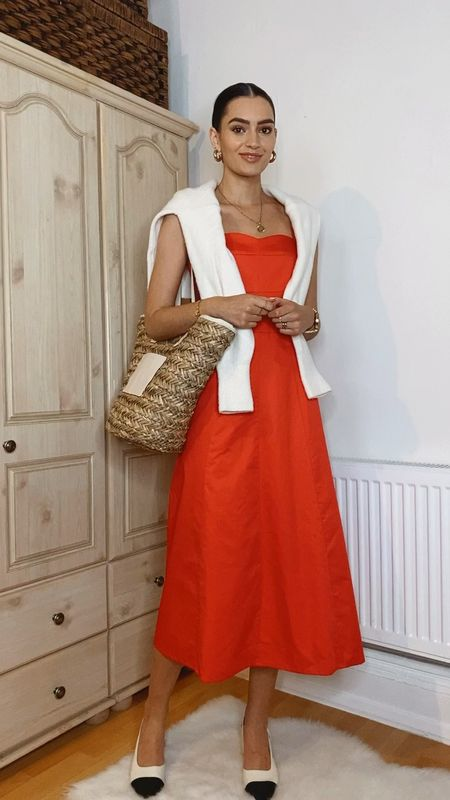 Summer dress outfits✨ Outfit 1. Red midi dress, white and nude accessories   #LTKstyletip