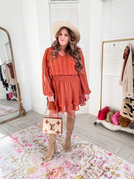 curvy fall style! wearing size xl in my rust dress. use code SASSYSEPT15 for 15% off.   #LTKSeasonal #LTKcurves #LTKunder100