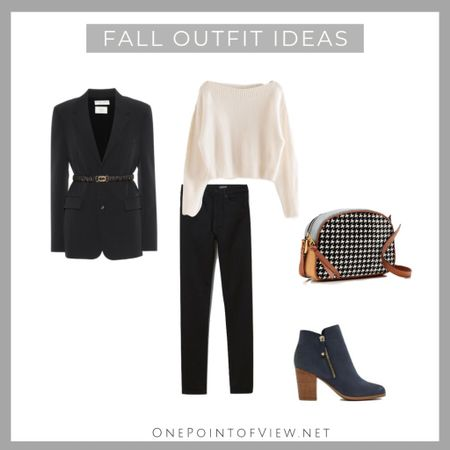Casual, comfortable and chic fall outfit. Black blazer, white sweater and black basic pants are all basic items  every woman should have, because they look great combined and it's easy to pair them with anything else. - work outfit, office, teacher outfit, ankle boots, Camera bag, crossbody bag, black jeans  http://liketk.it/2FfNF #liketkit @liketoknow.it #LTKeurope #LTKitbag #LTKsalealert #LTKshoecrush #LTKstyletip #LTKunder100 #LTKunder50 #LTKworkwear @liketoknow.it.europe