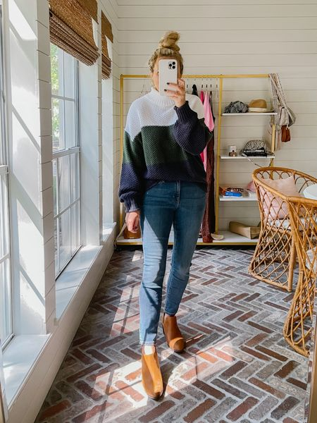 Fall outfit idea- color block sweater from Amazon with Anthropologie jeans and booties   #LTKunder100 #LTKstyletip #LTKSeasonal