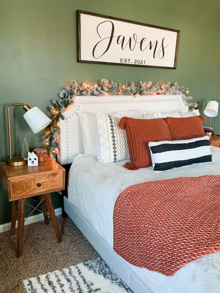 Master bedroom decor Farmhouse signs Wall decor Wood sign Christmas Garland Headboard Throw pillows Target style Throw blanket Wood end table Night stand Mid century modern decor Farmhouse decorating  Table lamp Gray comforter    #LTKstyletip #LTKhome #LTKunder100