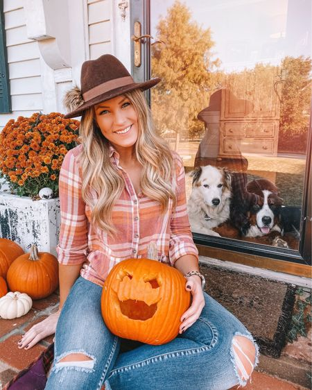 pumpkins, plaid and pom poms 🧡 I'm obsessed with this pom fedora, it's only $20 and is really good quality + sizeable!  . .  Shop your screenshot of this pic with the LIKEtoKNOW.it shopping app @liketoknow.it #liketkit http://liketk.it/2GgrH