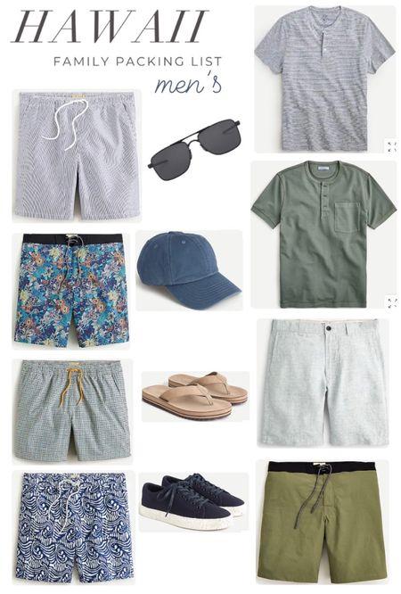 Men's Hawaii packing list. Swim trunks. Shorts. Tee shirts. Sunglasses. Baseball hat. Sandals. Sneakers.  #LTKSeasonal #LTKswim #LTKmens