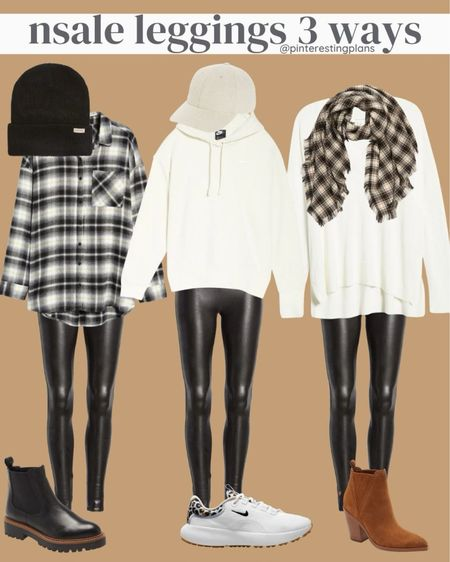 The Spanx faux leather leggings are on sale!   Some outfit ideas with Nordstrom anniversary sale pieces.  Nsale.    #LTKunder50 #LTKstyletip #LTKfit