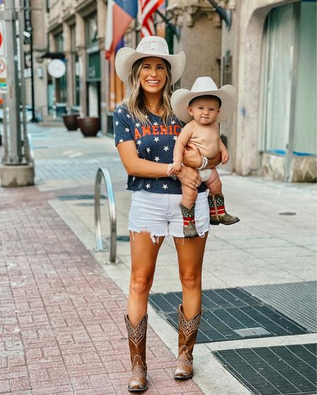 http://liketk.it/3hmIm #liketkit @liketoknow.it wearing a medium in this Pink Lily tee and a large in the shorts. Kamp is wearing a 5 in the cowboy boots and they light up! Code for Pink Lily is: Krista20