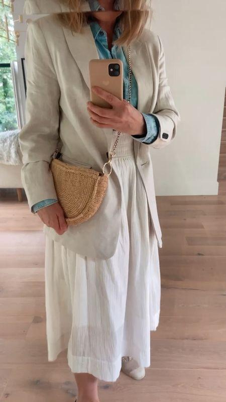 Today's outfit - beige blazer with a denim shirt and a white midi skirt   #LTKstyletip #LTKeurope #LTKunder50