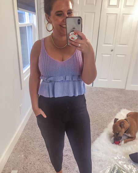 This pretty Amazon tank is so fun and different! I love the lavender color and sweater material . It's $18 and I'm in a medium. http://liketk.it/3f8jk #liketkit @liketoknow.it #LTKunder50 #LTKstyletip #LTKunder100