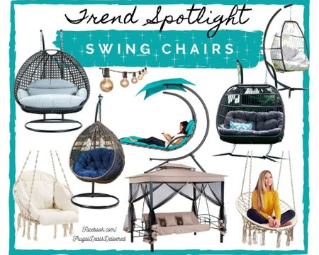 Spring summer and fall swing chairs for your patio, porch, outdoor living space! Make the most out of your summer living life, perfect for a reading nook, relaxation place & date night and cuddle sessions with this patio furniture and home decor! This huge trend for 2021 is here and I want one ASAP to get the most use out of it with warmer weather coming! Overstock, way fair and Walmart/ amazon finds!     Screenshot this pic to get shoppable product details with the LIKEtoKNOW.it shopping app http://liketk.it/39Z0x #liketkit @liketoknow.it #LTKSeasonal #LTKhome #LTKfamily @liketoknow.it.home