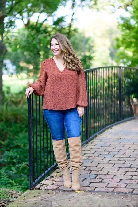 Gibsonlook x The Recruiter Mom Fall Outfit  Code RYANNE15 for 15% off all new arrivals with gibsonlook  Gathered shoulder blouse, size up if larger chested // Jeans, tts // Boots, size up 1/2  Fall Style  Women's Clothing  Fall Outfits  #LTKfit #LTKstyletip #LTKSeasonal