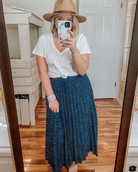 Polka dot skirt, flowy skirt, easy outfits, outfit idea, ootd, summer hat, Panama hat, summer nails, travel styles, beach outfit, wicker earrings, skirt and tees.   http://liketk.it/2RuIu #ltksummer #ltkmom #liketkit #LTKstyletip #LTKunder50 #LTKspring @liketoknow.it
