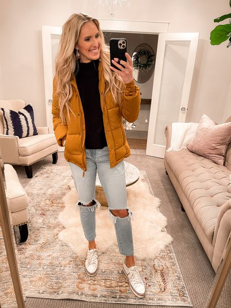 The cutest jeans under $18! True to size. I'm wearing a 9 and I'm normally a 4 or 27 in jeans. Everything else linked on my Amazon favs page linked at the top of asliceofstyle.com! #liketkit @liketoknow.it  http://liketk.it/35ena
