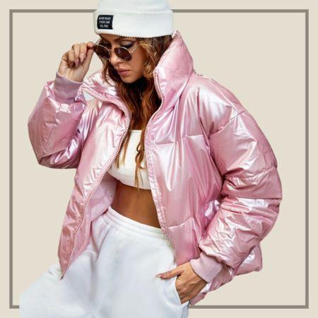Pink metallic puffy winter coat jacket  #LTKstyletip #LTKunder50